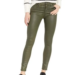 AG The Farrah High Rise Skinny Ankle Sateen Olive